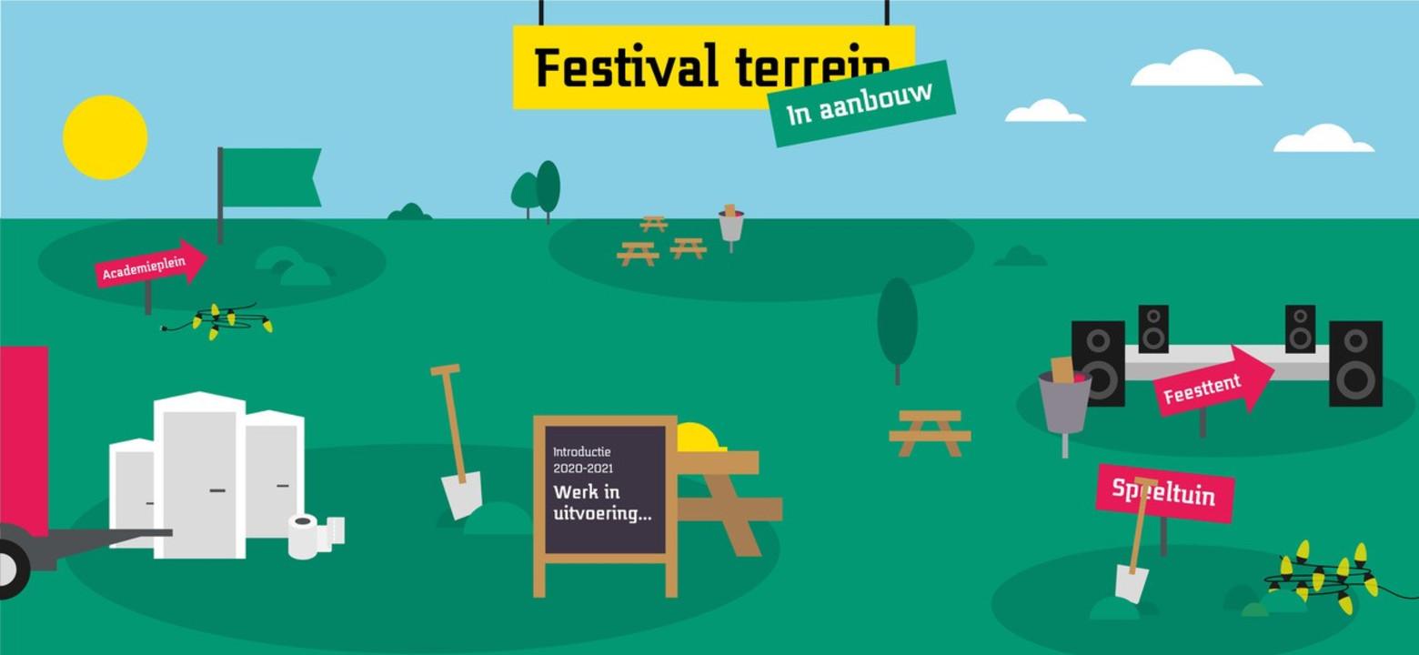 Saxion Introductie: festivalterrein in aanbouw