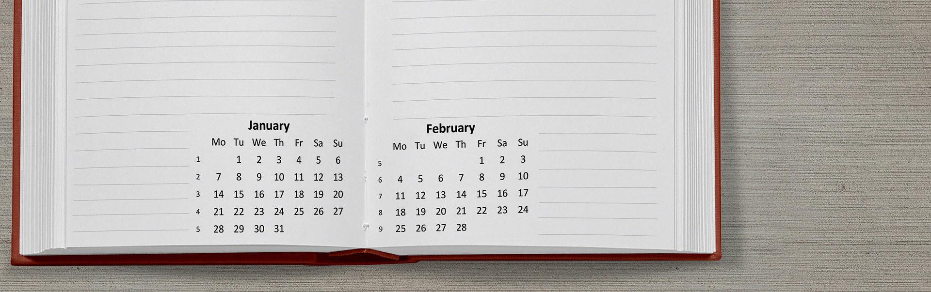 Agenda met 2 kalendermaanden er op